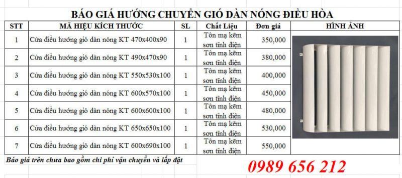 bang gia chuyen huong gio cuc nong dieu hoa 2021